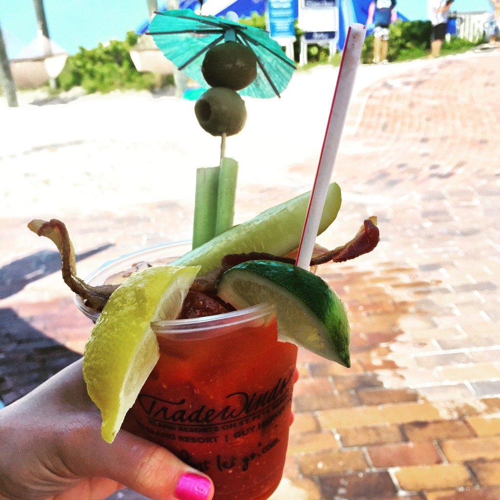 Loaded Bloody Mary at Flying Bridge at Tradewinds Resorts