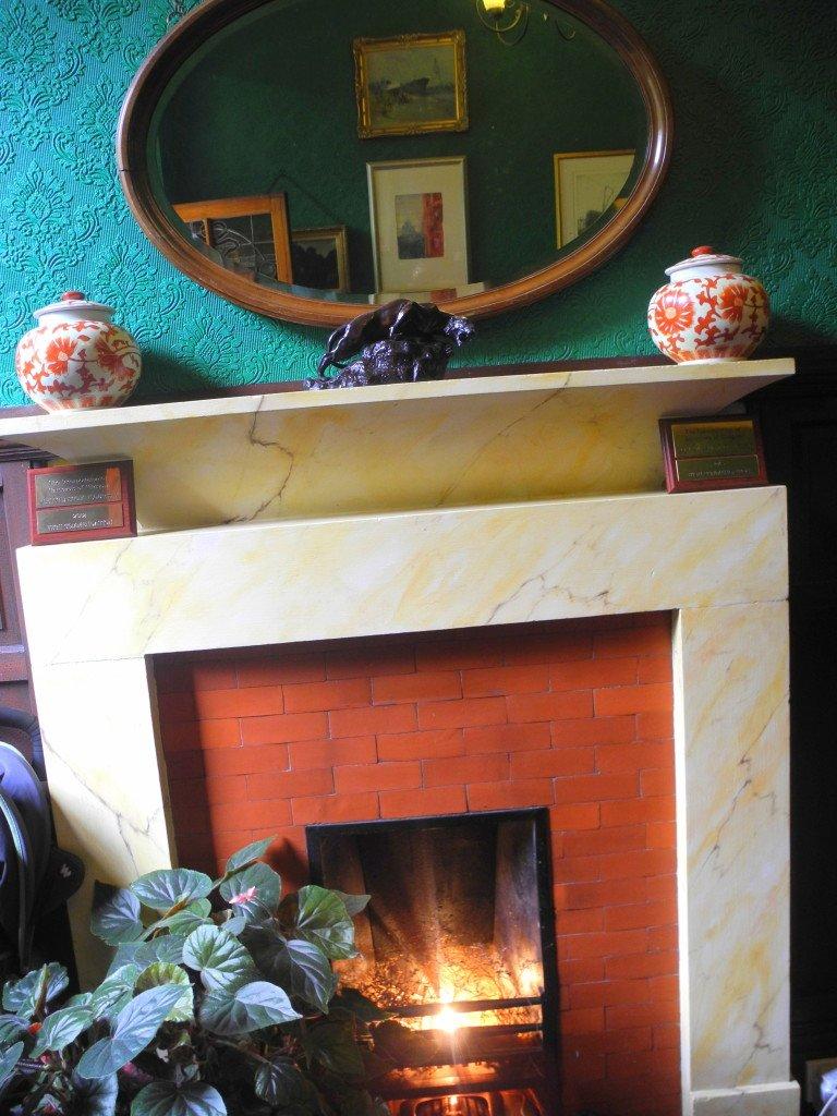 Lobby Fireplace in Kirklee Hotel