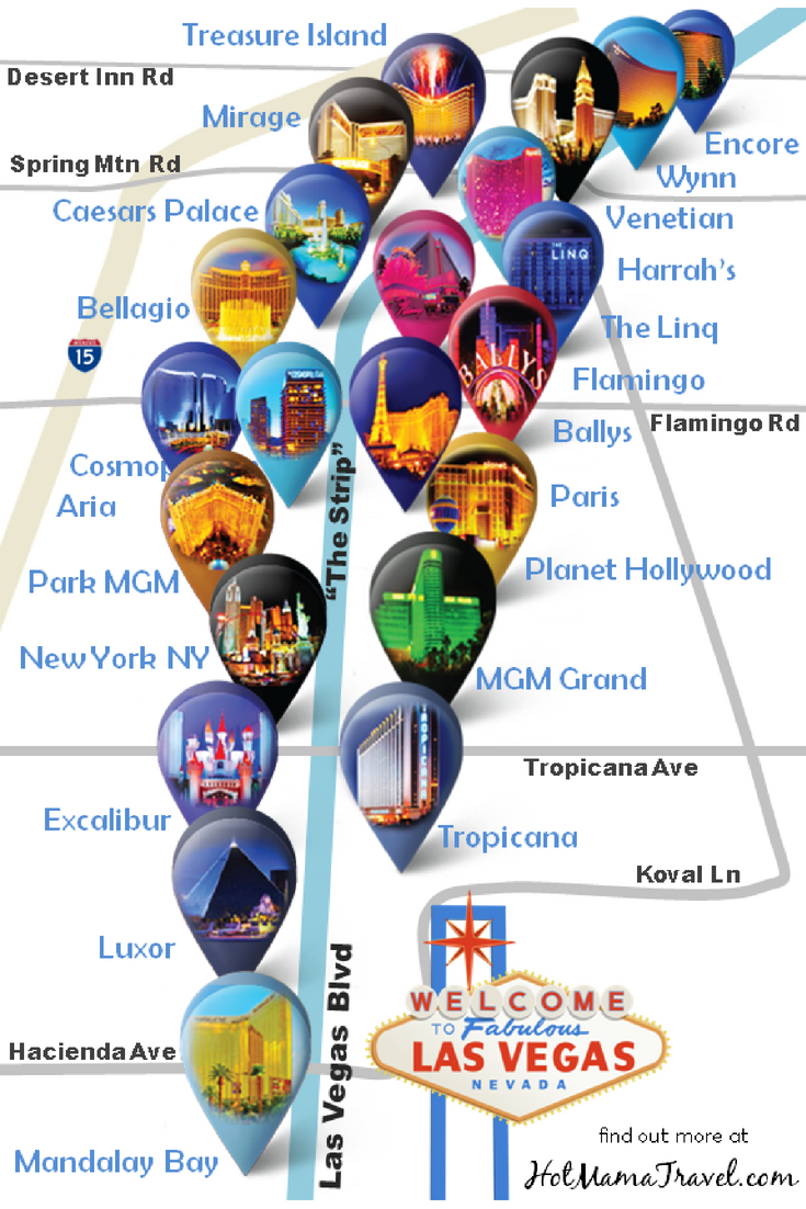 Las Vegas Strip Hotel Map A Unique Map Of Main Hotels On
