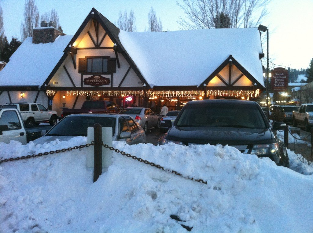 Big Bear peppercorn restaurant in snow