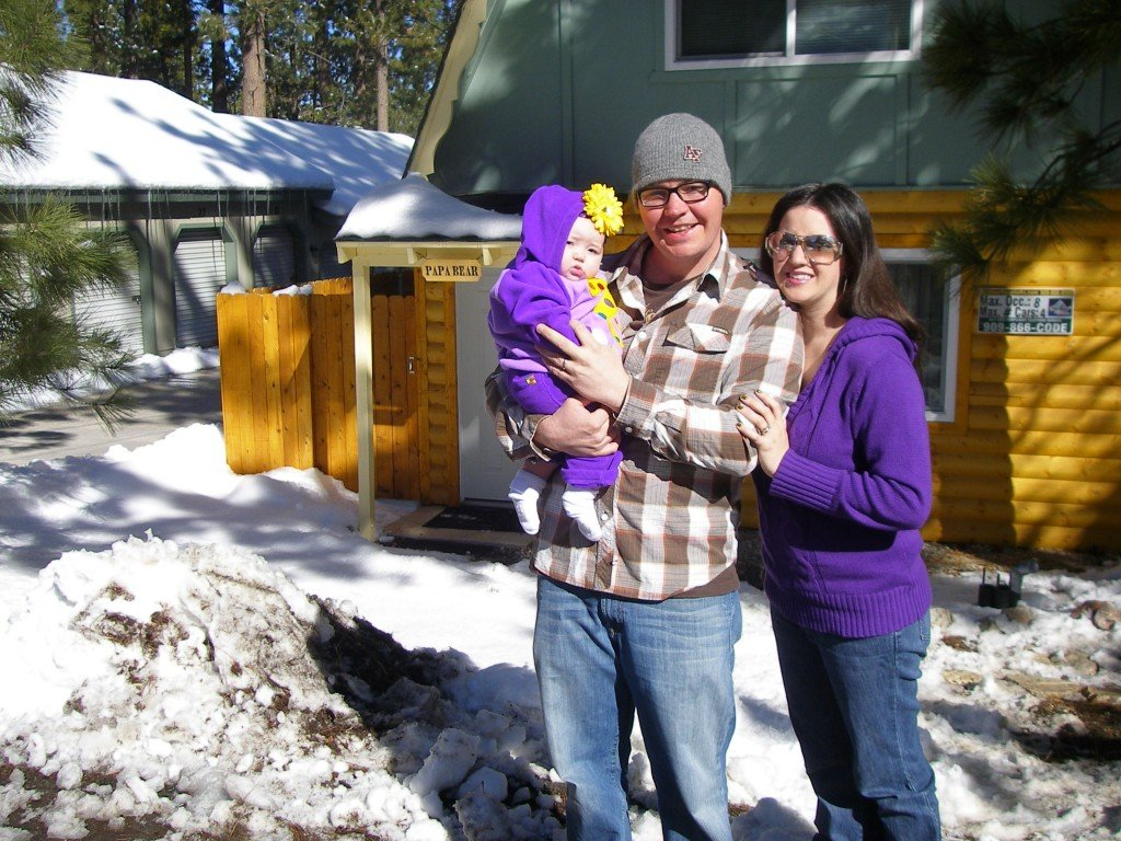 Big Bear cabin with baby in snow