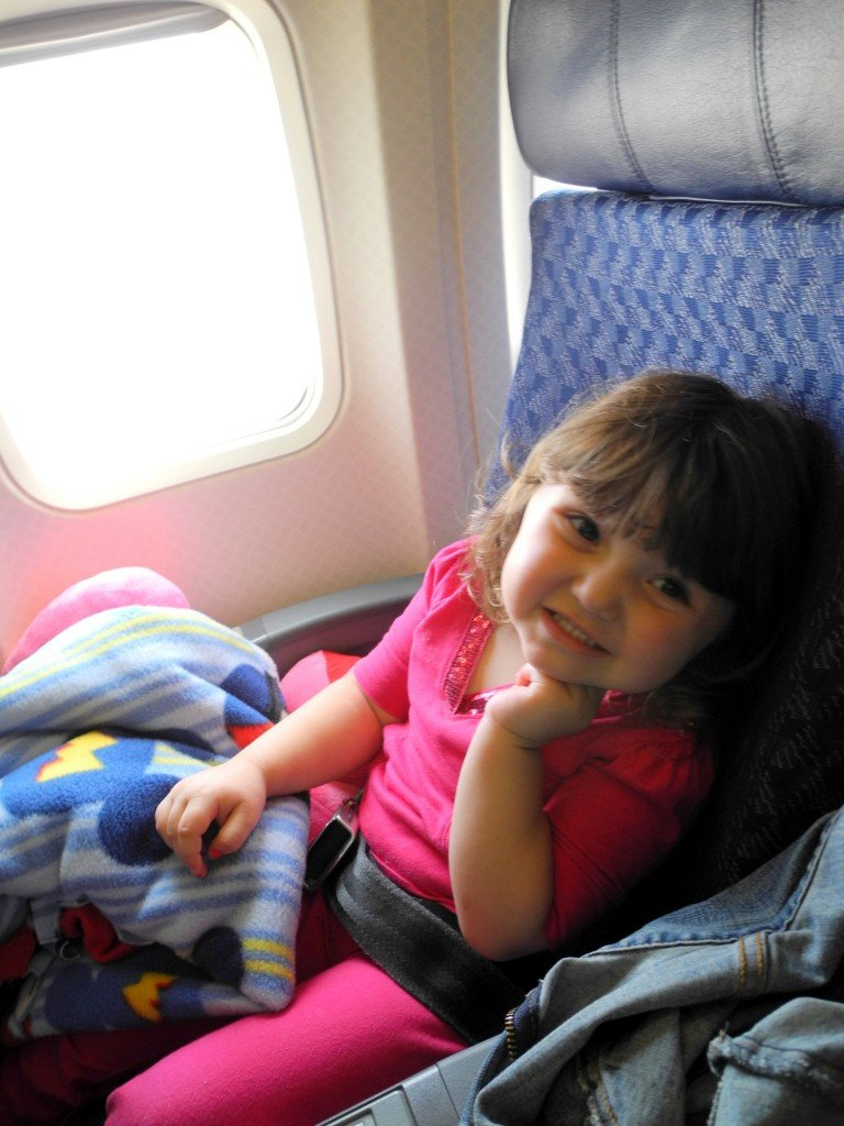 daughter on airplane