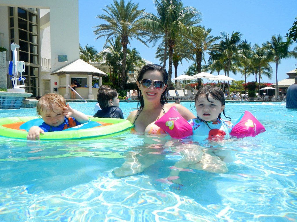 In pool with kids at Naples Grande