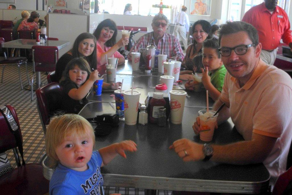 Knott's Berry Farm restaurant with big family