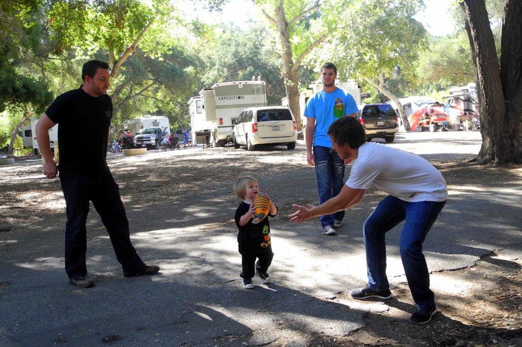 Vail Lake Resort family fun time playing football on Thanksgiving