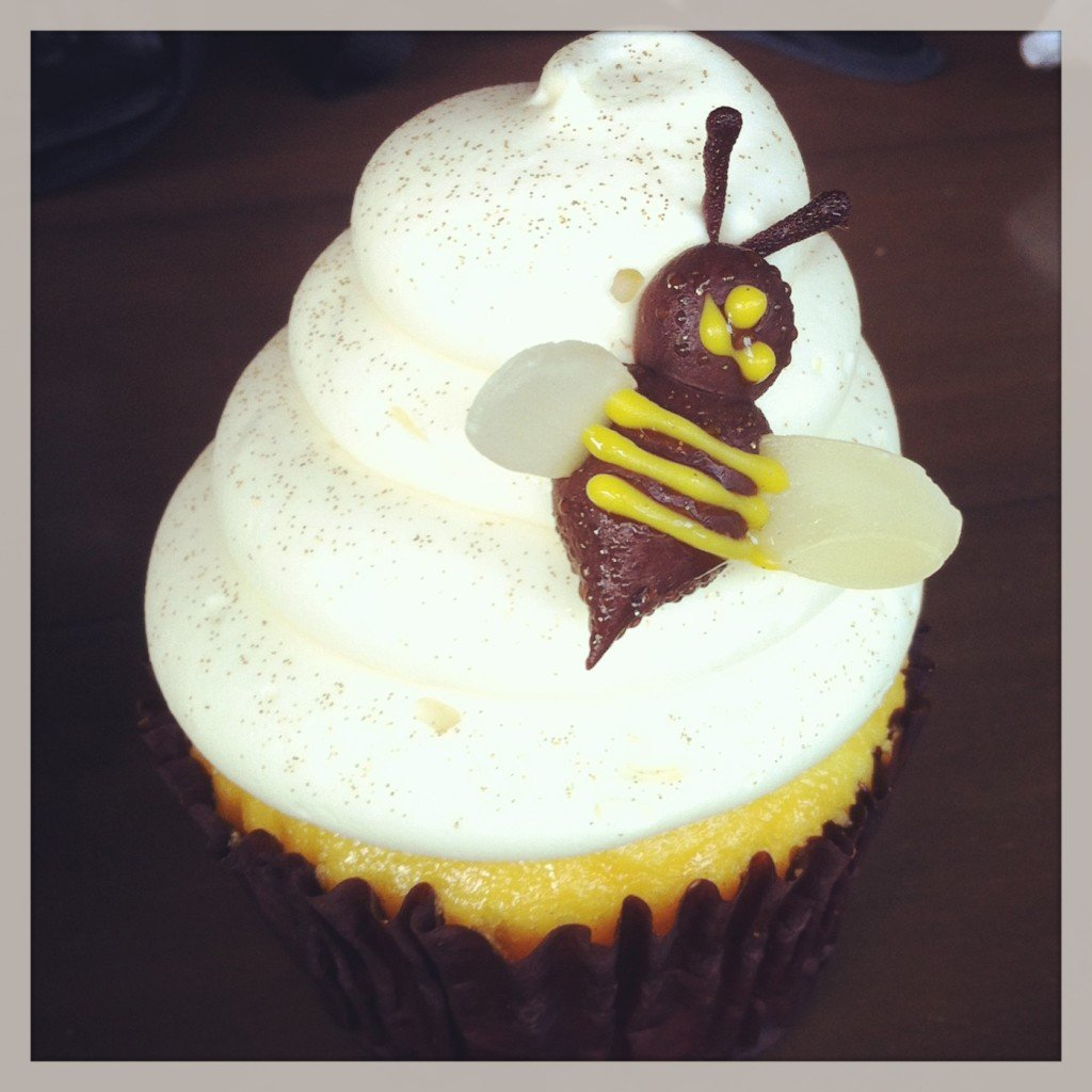 cupcake with bee decoration