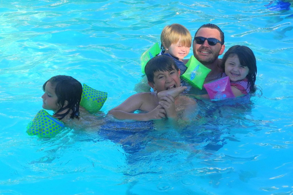 Big Bear Shores RV Resort swimming pool with kids