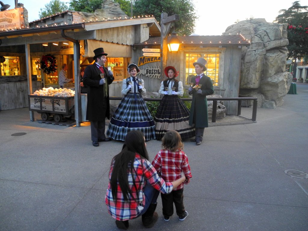 Festive Ghost Town at Knott's Berry Farm with Christmas Carolers