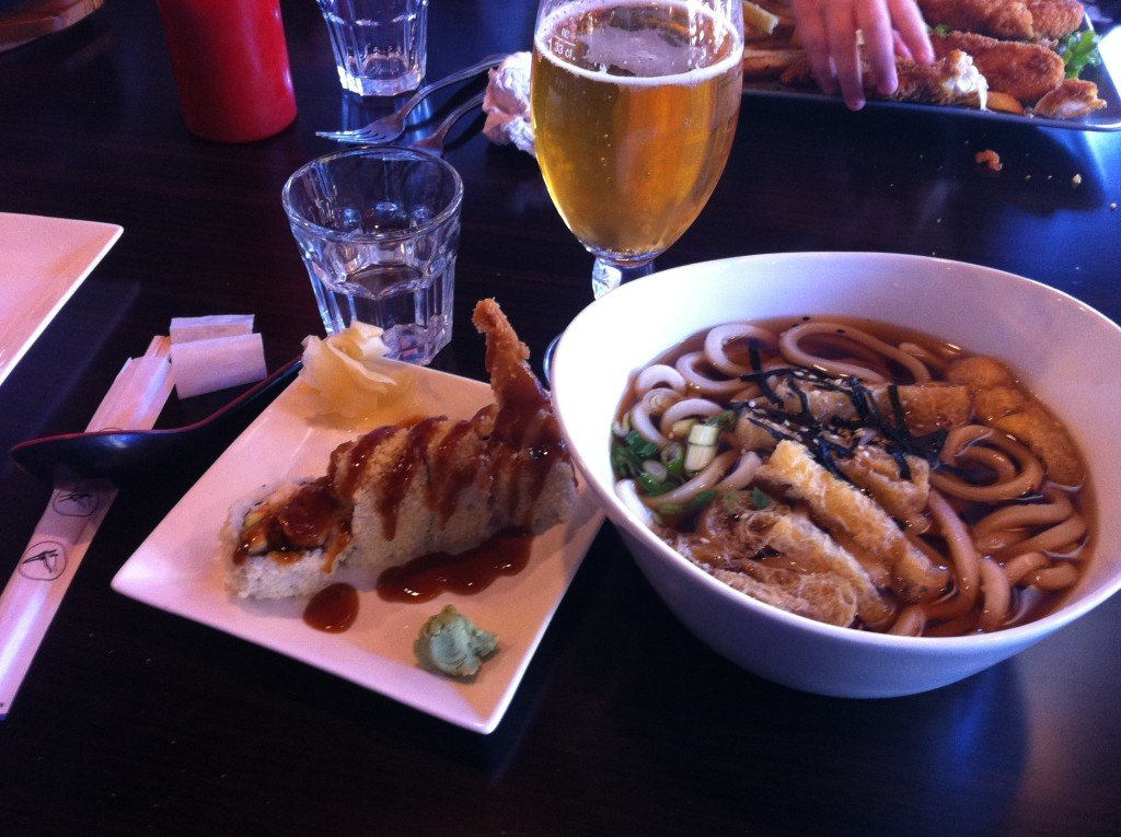Udon Soup and Shrimp Crunch Roll at Mile High Cafe
