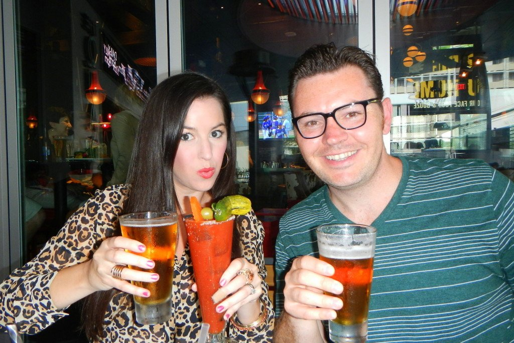 Bloody Marys with a beer back at Guy Fieri's Vegas Kitchen