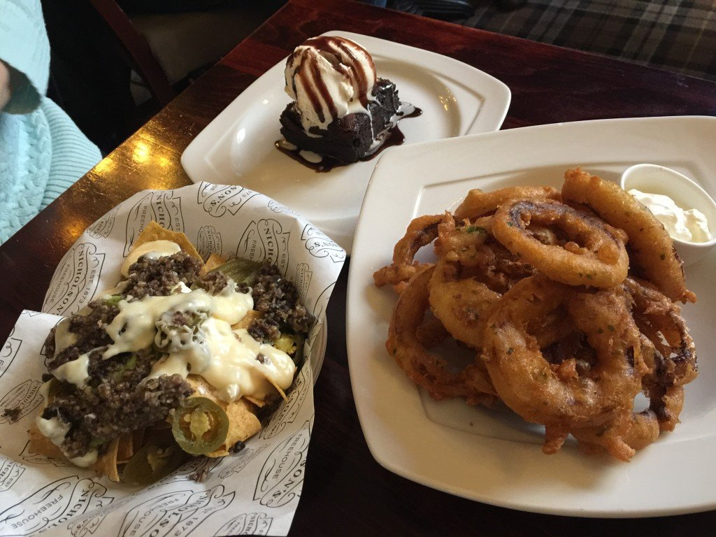 Haggis Nachos, Onion Rings and dessert at Drum & Monkey