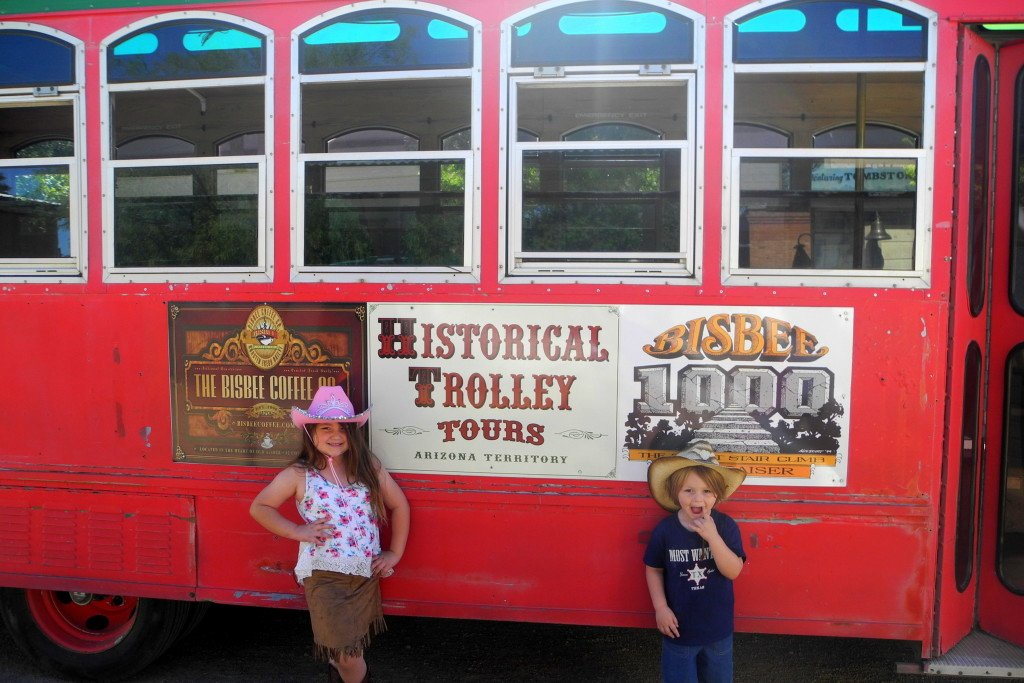 Kids on Trolley in Tombstone
