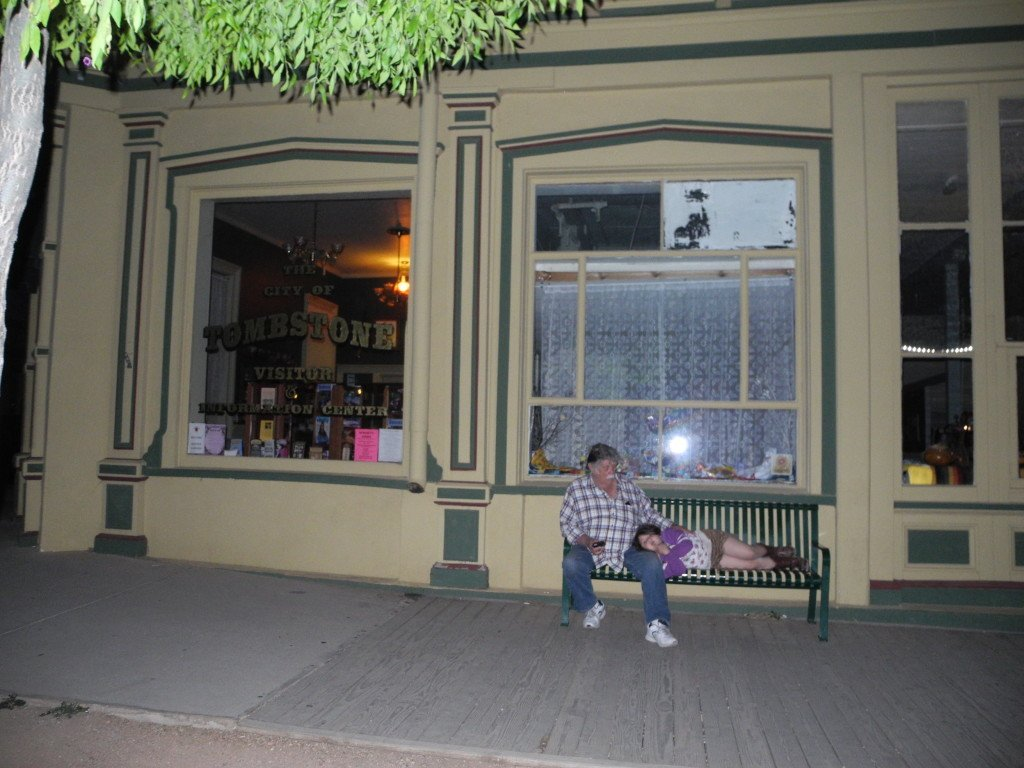 Kid on ghost tour in Tombstone