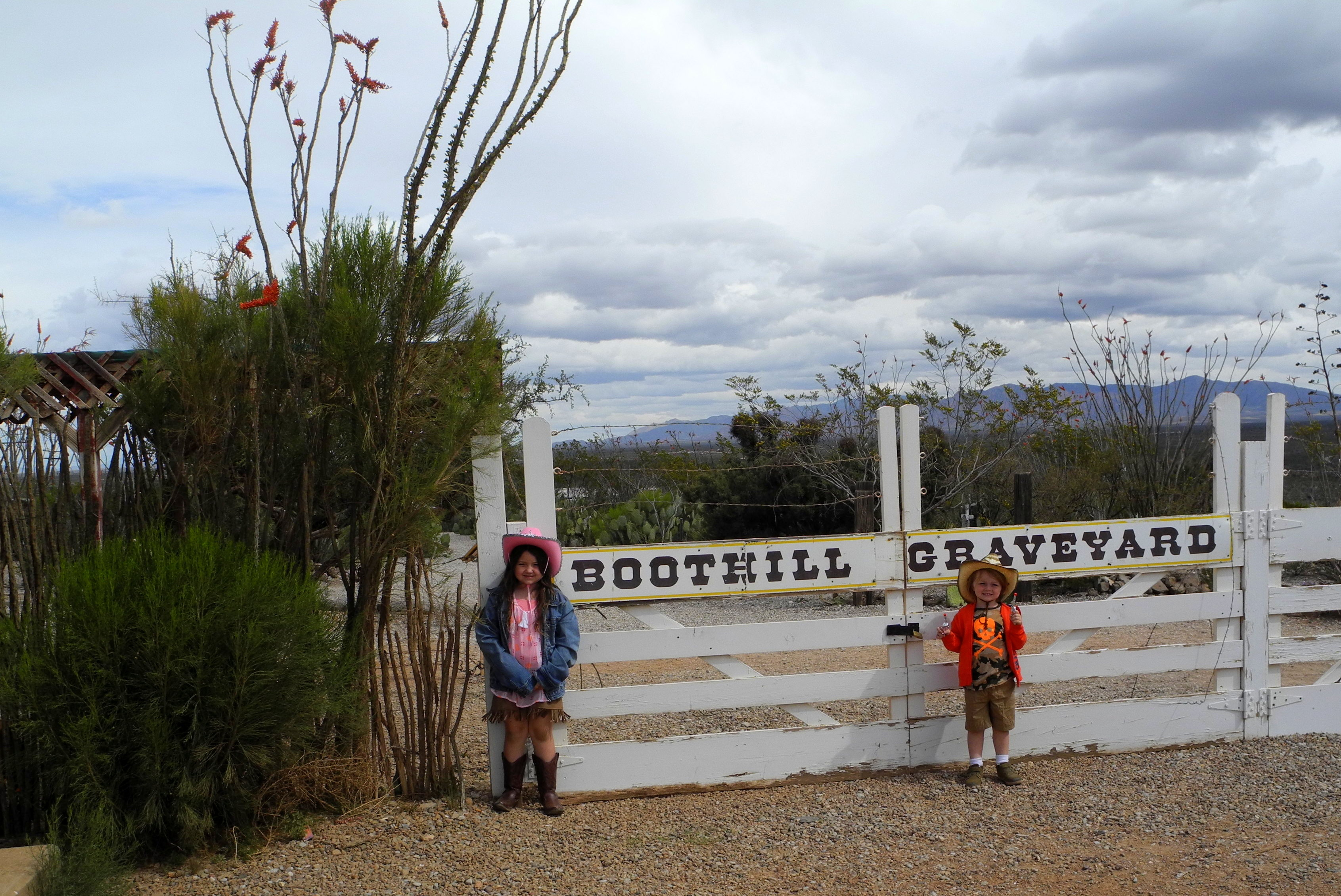 Kids at Boothill Graveyard in Tombstone