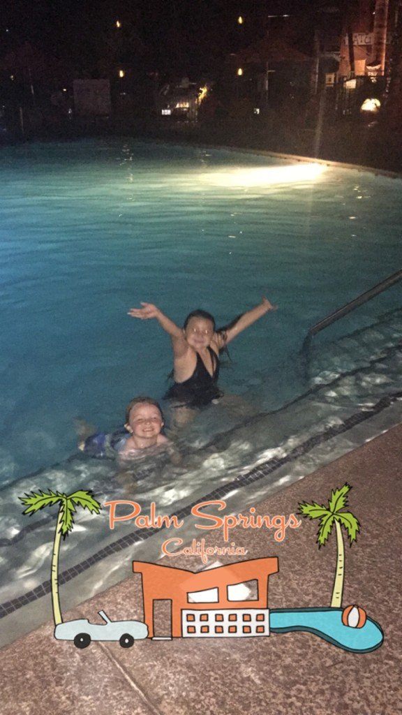 Kids night swimming in palm springs