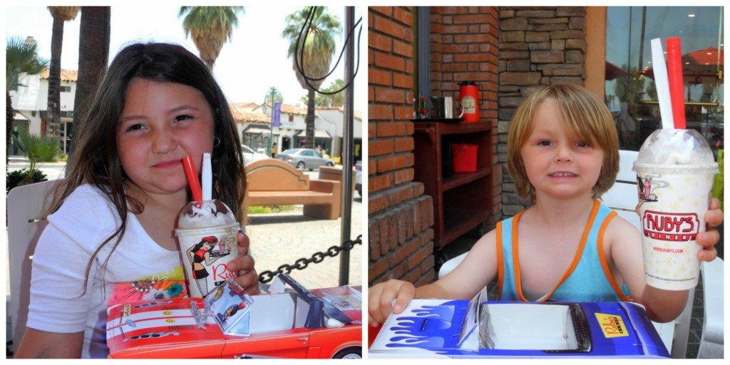 Kids with milk shakes at Ruby's Diner Palm Springs
