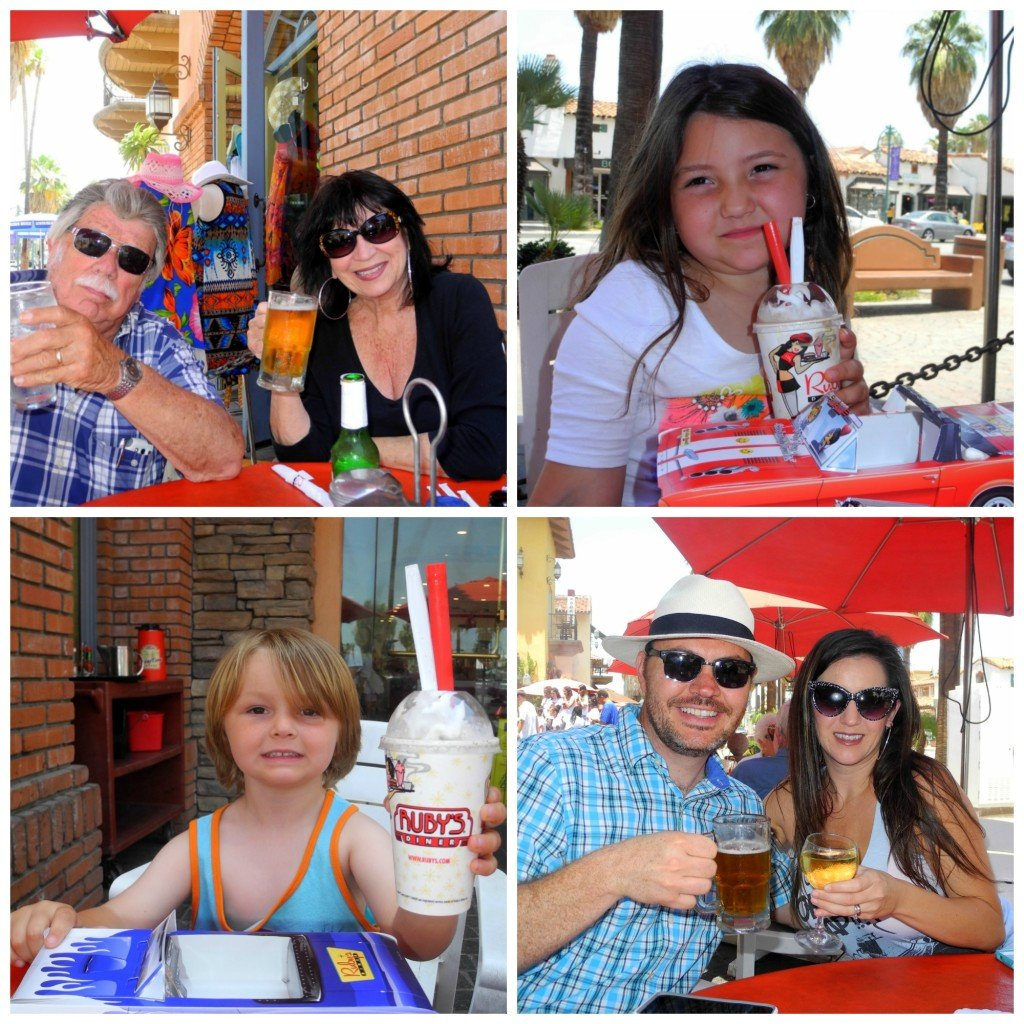 Ruby's Diner with kids on patio in Palm Springs