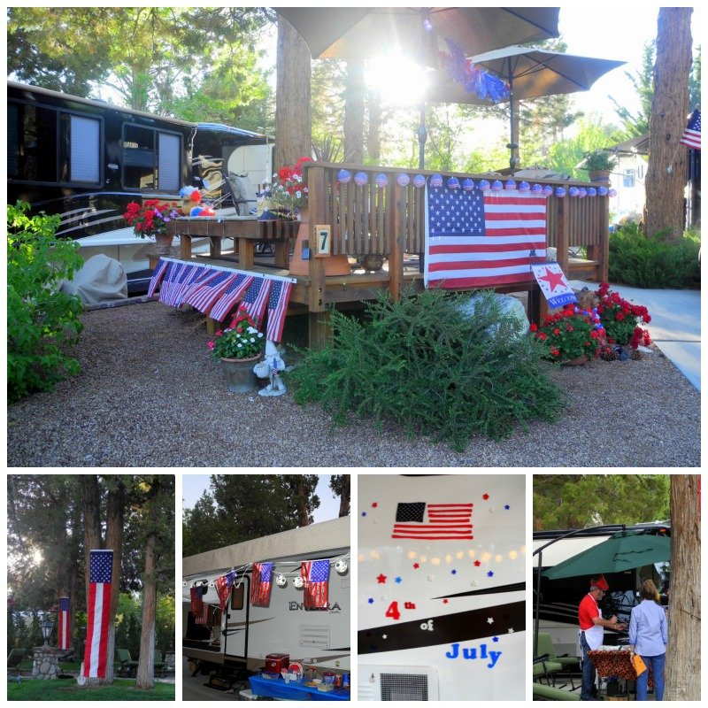 4th of July decorations of camp site Big Bear