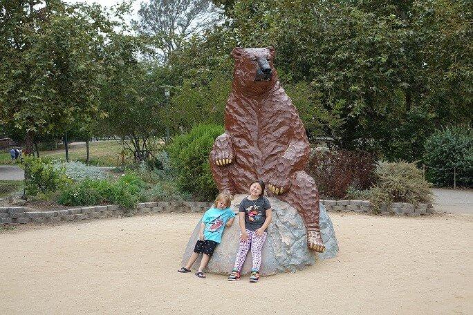 La Brea Tar Pits Bear Statue children