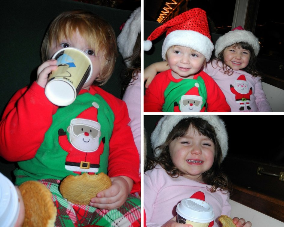 kids enjoy hot cocoa on Polar Express Arizona