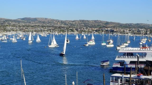 Newport beach sail boats near Balboa island
