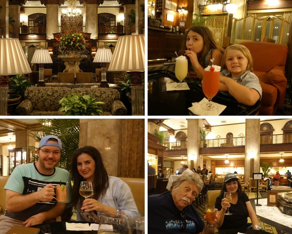 Enjoying cocktails and mocktails in the beautiful Peabody Lobby Bar in Memphis TN