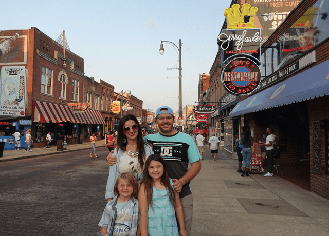 family portrait on Beale Street in Memphis TN