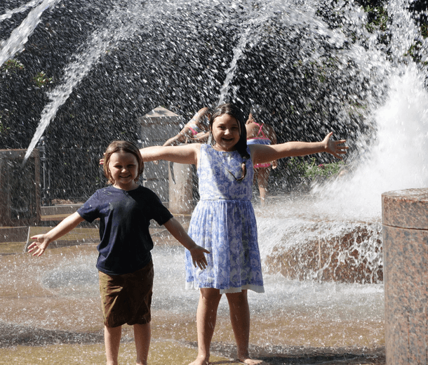 Kids Playing in Fountain in Charleston SC