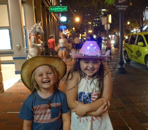 Nashville downtown at night with kids