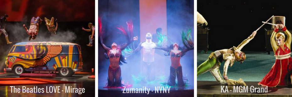 Las Vegas Shows Collage Love Zumanity Ka