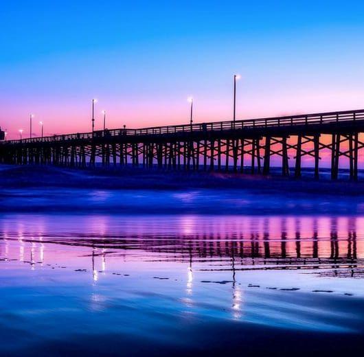 Beach pier sunset southern california