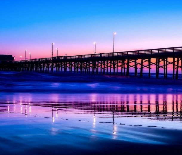 Beach pier sunset southern california