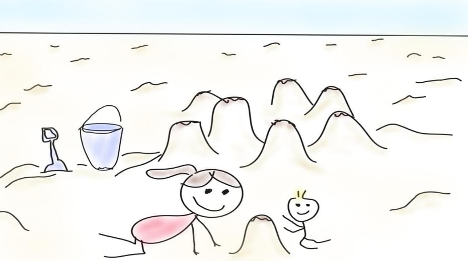 Family build sand castles drawing