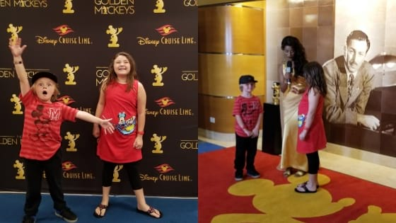 Golden Mickeys Red Carpet with kids