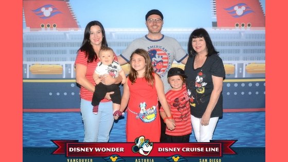 Family Photo Embarking Disney Wonder