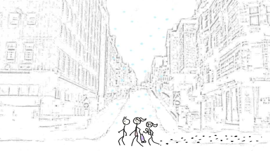 Line drawing family walking in snow