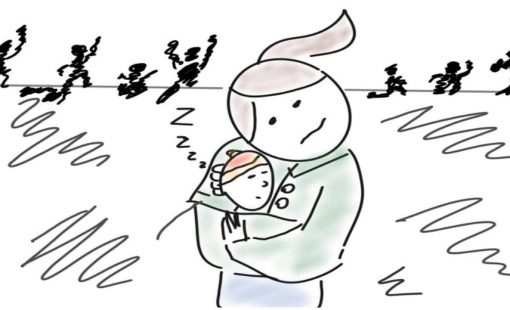 Line Drawing of Mother hiding infant in jacket