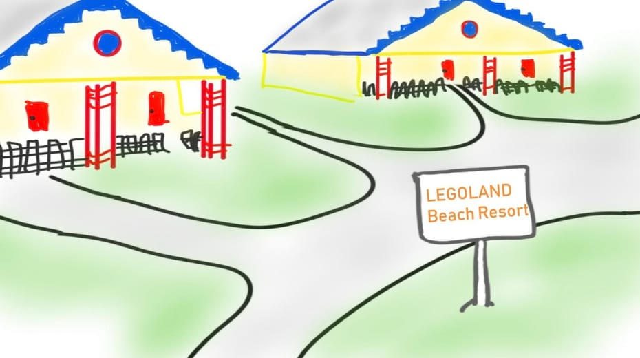Drawing of Legoland beach resort Orlando FL