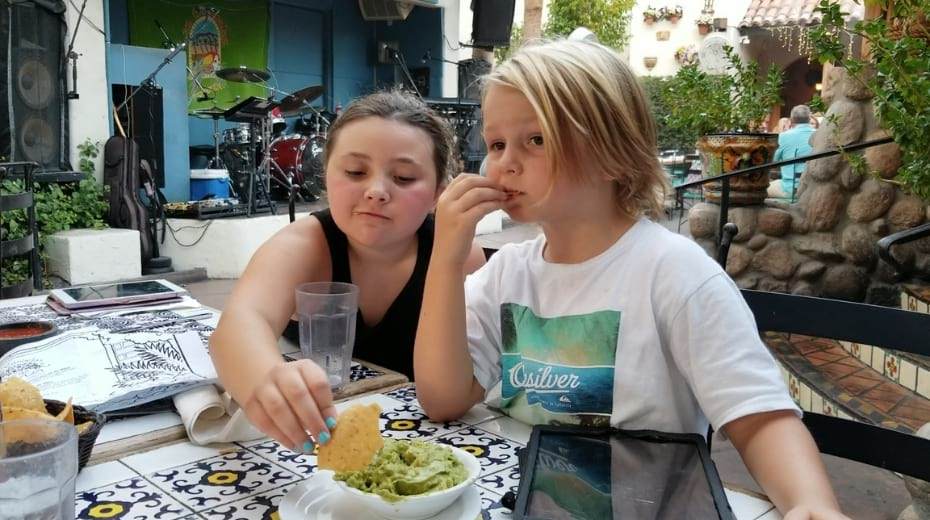 Kids eating at Las Casuelas