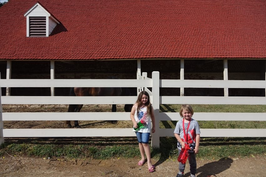 Stables at Mount Vernon with kids