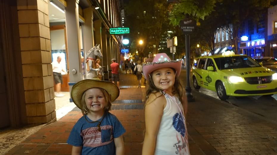 Kids having fun in Nashville at Night