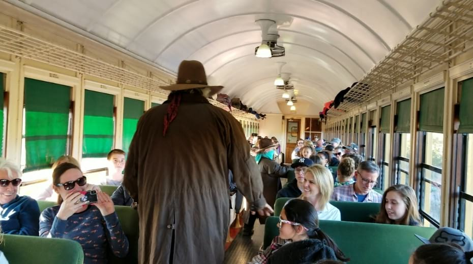 Gang robbing the Grand Canyon Railway train