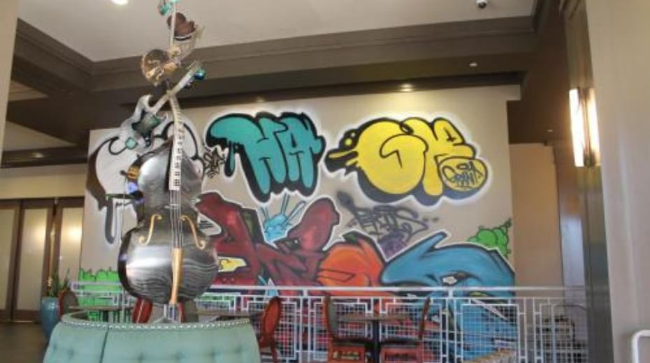 Graffiti art in lobby of Hampton Inn Suites Austin