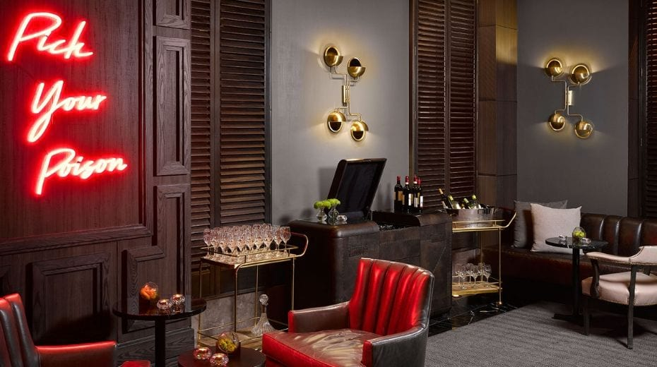Kimpton nine zero hotel in Boston Lounge area