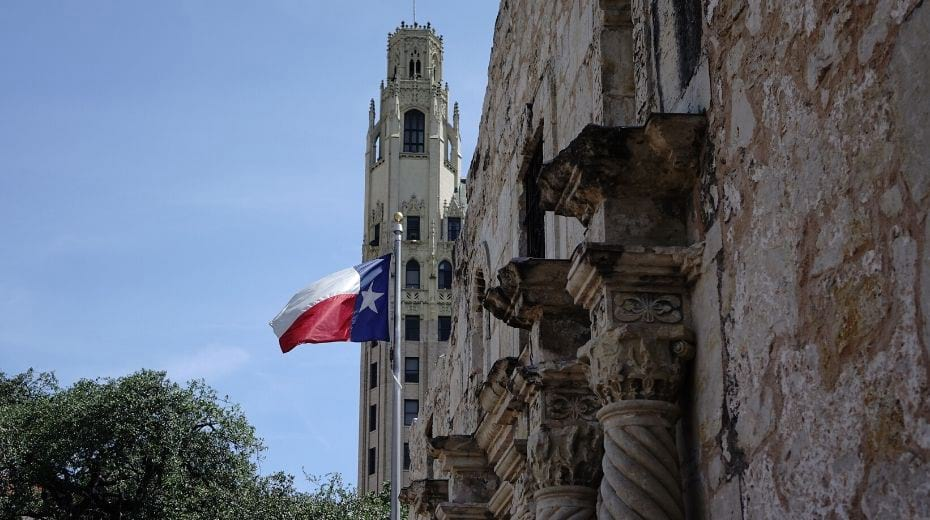 Alamo with Texas State Flag
