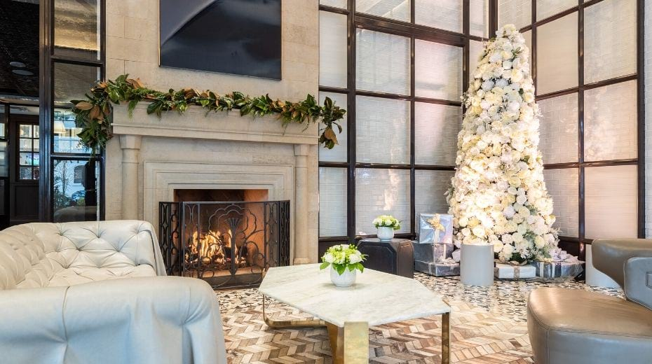 Lobby of Pendry San Diego with Christmas Decor