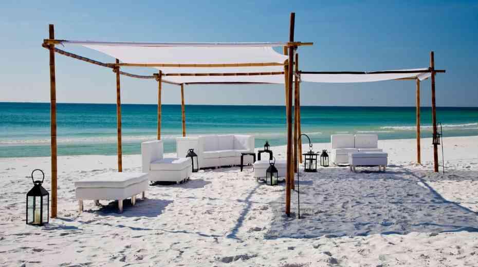 Beach lounge at family hotel Embassy Suites by Hilton Miramar Beach Destin Fl
